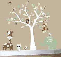 Childrens wall decals jungle nursery white tree wall decal sage green and tan patterned leaves. $129.00, via Etsy.