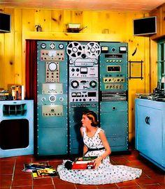 mid century home audio lab