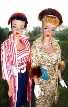 Vintage Barbie in outfits from 1959 Roman Holiday and Evening Splendor.