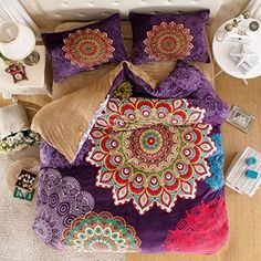 Bohemian Flannel Bedding, Set,  Duvet Cover Set, Queen King Size 4pcs