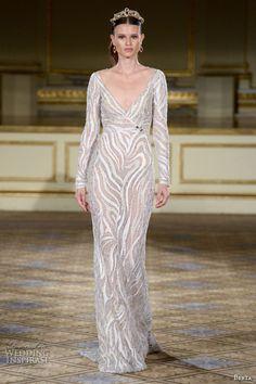 berta fall 2016 bridal gowns long sleeves v neckline sheath wedding dress