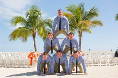 Groomsmen pyramid! Photo taken by Caterson Media caterson.com at Coconut Cove Resort in Islamorada, FL