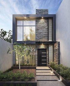Narrow House Designs, Modern Small House Design, Modern Exterior House Designs, Modern House Facades, Modern Minimalist House, Bungalow House Design, House Front Design, Dream House Exterior, Modern House Plans