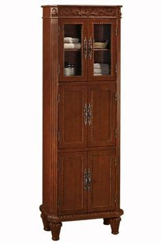 "Chelsea 25""w Linen Storage Cabinet, 6-DOOR, ANTIQUE CHERRY by Home Decorators Collection. $469.00. 72""H x 25""W x 14""D.. Easy assembly.. Store a variety of bathroom accessories in this linen cabinet. Featuring two glass and four wood doors, this cabinet provides ample storage for your bathroom space while allowing you to display towels or other bath decor accessories. This bath item from our Chelsea Collection features beautiful detailing, durable wood construction..."