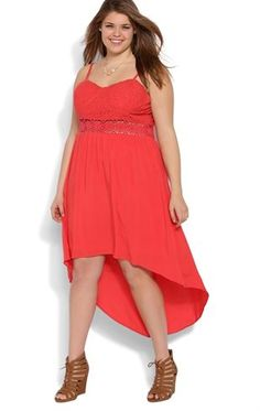 Deb Shops Plus Size High Low Dress with Lace Bodice and Daisy Illusion Waist $45.00