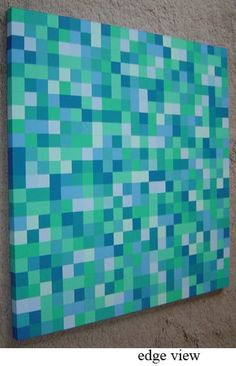 Modern Abstract Squares Painting Blue and Green