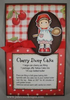 Kitchen Tilda from Magnolia stamps used for a recipe page! Family Recipe Book, Recipe Books, Scrapbook Recipe Book, Dump Cake Recipes, Dump Cakes, Planning Budget, Menu Planning, Canned Cherries, Recipe Binders