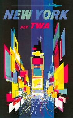 New York — Fly TWA. New York's Times Square is depicted in this stunning poster for Trans World Airlines. Illustrated by David Klein, 1956, for TWA. Vintage travel poster. Prints from $15.