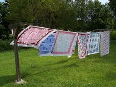 Charm of the Carolines: Vintage tablecloths I love seeing freshly laundered tablecloths drying in the sunshine!