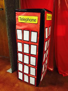 A phone booth makes a great decoration for Hero Central. Cover a large appliance box with red paper. Add black duct tape. Create windows using white paper. Notice how the windows are outlined in black so they will pop! Add the word Telephone to complete your set. This item can be placed in those difficult to decorate areas too! cokesburyvbs.com