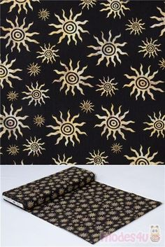 100% cotton fabric with brown sun motif on solid black, Dan Morris Design, very high quality fabric, typical great quality from the USA, Material: 100% cotton #USAFabrics Dan Morris, Retro Fabric, Solid Black, Printing On Fabric, Cotton Fabric, Quilts, Brown, Sun, Design