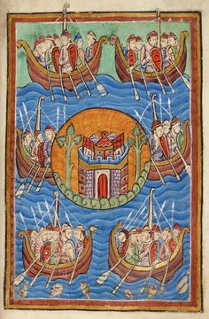 Tribes crossing Sea to Britain | Miscellany on the life of St. Edmund | England, Bury St Edmunds | ca. 1130 | The Morgan Library & Museum