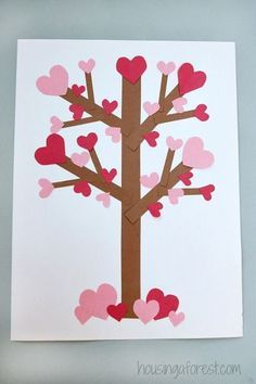 Your kids will have so much fun creating this cute Valentine's Day love heart tree