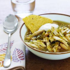 Easiest low-fat soup made with a jar of salsa verde (I prefer the Herdez brand)! One of our family favorites!