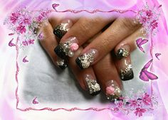 Black with alloy nail art.