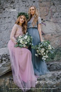 Blush & Slate Grey Palette Bridesmaids Lace Mary Dress, Long Blush Grey Waterfall Bridesmaids Skirt, Prom Dresses Plus Size Blush Dresses, Prom Dresses, Pastel Blue Dress, Grey Palette, Blush And Grey, Bride Accessories, Lace Crop Tops, Wedding Bridesmaid Dresses, French Lace