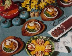 """From """"Feast for the Eyes."""" Nickolas Muray, Food Spread, Daffodils, McCall's magazine, ca. 1946 © Nickolas Muray Photo Archives. Courtesy George Eastman Museum, gift of Mrs. Nickolas Muray. Published by Aperture."""
