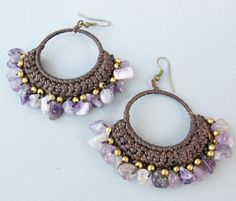 Handmade Macrame Dangle Earrings with Amethyst and Brass Bead