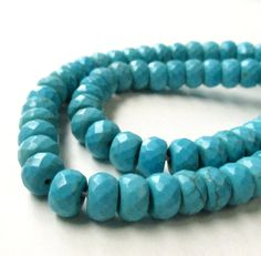 Turquoise Beads Turquoise Rondelle Faceted Beads by BijiBijoux