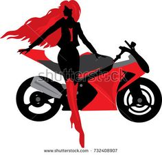 Illustration of beautiful woman with motorcycle. Biker culture
