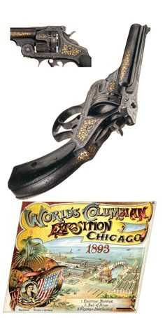 Extraordinary Documented Gustave Young's 1893 Chicago World's Fair Exposition Engraved and Gold Inlaid Smith & Wesson 44 Double Action Frontier Model Revolver with Nevada Gold Mining Lawmen History. Neck Bones, Smith N Wesson, White City, Revolvers, World's Fair, Bullets, Swords, Firearms, Hand Guns