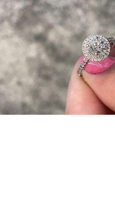Beautiful Halo Round Diamond Engagement Ring by Shimansky. Eternity Ring Diamond, Diamond Solitaire Rings, Halo Diamond Engagement Ring, Engagement Ring Styles, Designer Engagement Rings, Engagement Inspiration, Wedding Ring Bands, Fashion Rings, Beautiful