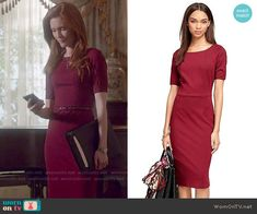 Abby's burgundy dress on Scandal.  Outfit Details: http://wornontv.net/53442/ #Scandal