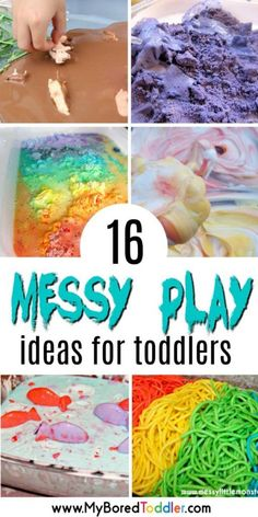 messy play ideas for toddlers 2 and 3 year olds If you're looking for messy play activities for toddlers then you've found the right place! We're taking our sensory play one step further this week and getting messy! Messy play is so important for young Toddler Messy Play, Toddler Learning, Toddler Snacks, Toddler Preschool, Toddler Crafts, Crafts For Kids, Baby Messy Play Ideas, Easy Crafts, Toddler Games