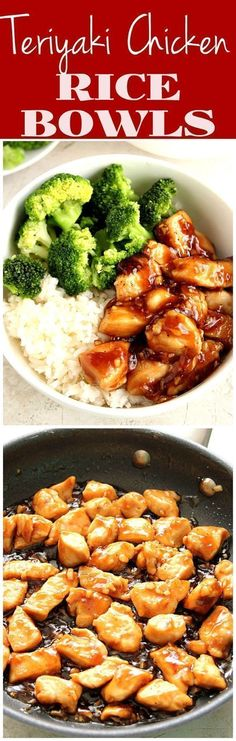 Quick and Easy Teriyaki Chicken Rice Bowls - sweet, garlicky chicken served with. Quick and Easy Teriyaki Chicken Rice Bowls - sweet, garlicky chicken served with steamed broccoli and rice. This Asian chicken dinner recipe. Teriyaki Chicken Rice Bowl, Chicken Rice Bowls, Balsamic Chicken, Teriyaki Rice, Chicken Noodles, Cashew Chicken, Keto Chicken, Healthy Dinner Recipes, New Recipes