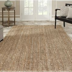Safavieh Casual Natural Fiber Hand-Woven Natural Accents Chunky Thick Jute Rug (5' x 7'6)