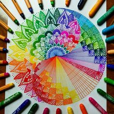 Beautiful colors and designs Dibujos Zentangle Art, Zentangle Drawings, Zentangles, Mandala Art Lesson, Mandala Artwork, Doodle Patterns, Zentangle Patterns, Art Patterns, Gel Pen Art