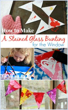 How to Make a Stained Glass Bunting for the Window -- A kid-friendly art activity using melted crayon, watercolors, and oil