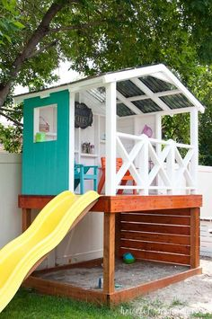 Learn how to build a wooden outdoor playhouse for the kids. This DIY playhouse h… Learn how to build a wooden outdoor playhouse for the kids. This DIY playhouse has it all: sandbox, climbing wall, slide and clubhouse! Playground Design, Backyard Playground, Backyard For Kids, Backyard Projects, Playground Kids, Backyard Ideas, Garden Ideas, Diy Projects, Project Ideas