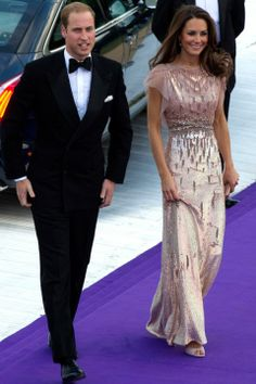 6.09.11 For her 1st evening look since her wedding, Duchess of Cambridge at Absolute Return for Kids 10th anniversary gala in London in Jenny Packham S11 pearlescent rose sequin gown w/ Swarovski crystals