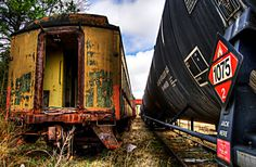 yellow carriage rusting at Winslow Junction, N.J.