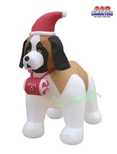 New 2016 Air Character Christmas Inflatable.  Adorable Bernard Christmas Inflatable that the whole neighborhood will enjoy.  This Handsome St Bernard Decked out in a Santa hat Stands 7 feet tall.  A must Holiday decoration for all Bernard lovers and dog lovers in general