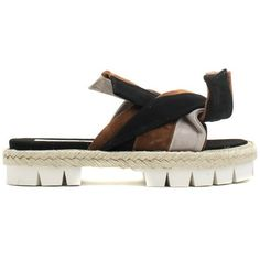 """N° 21 """"Bow"""" Sliders (78500 RSD) ❤ liked on Polyvore featuring shoes, gray shoes, rubber sole shoes, grey shoes, bow shoes and brown shoes"""