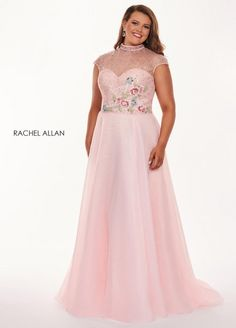 Style 6661 from Rachel Allan Curves is a sweetheart neck embellished and illusion bodice plus size sequin and organza prom gown with keyhole back.