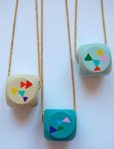 Wood Geometric cube hand painted  necklace by LindoRon on Etsy, $18.00