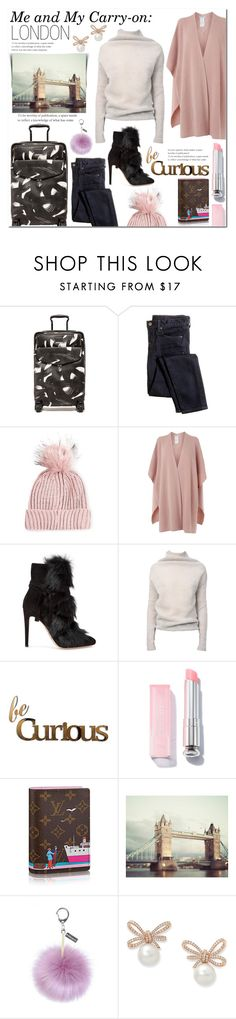 """""""Me and My Carry-On: LONDON"""" by laurajanekatriina ❤ liked on Polyvore featuring Tumi, J.Crew, Topshop, L.K.Bennett, Gianvito Rossi, Rick Owens, Letter2Word, Helen Moore, contest and travel"""