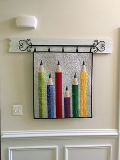 "Pencil quilt by Polly | Aunt Polly's Porch.  ""I felt I needed some wall quilts to put out with my September school decor..."""