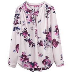 Women's Joules Rosamund Pop-over Blouse (82 AUD) ❤ liked on Polyvore featuring tops, blouses, joules shirts, curved hem shirt, shirt blouse, rayon blouse and pink button up blouse