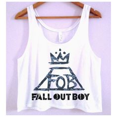 Fall Out Boy Crop-Top ($24) ❤ liked on Polyvore featuring tops, shirts, crop tops, white transparent shirt, polyester crop tops, sheer top, boxy crop top and see through tops