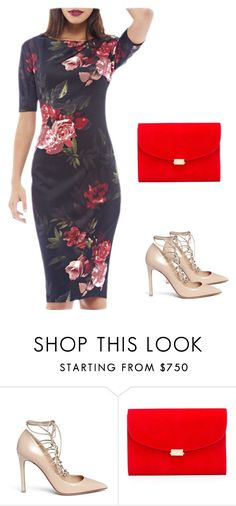 """Floral Printed Sexy Back Bottom Slit Slim Cocktail Party Evening Pencil Dress"" by nanayau on Polyvore featuring Valentino and Mansur Gavriel"