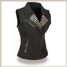 Ladies Studded Denim Biker Vest by Milwaukee Leather- BLACK