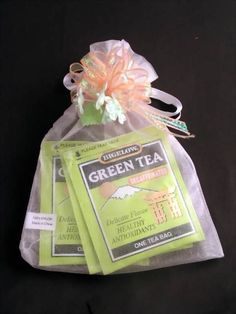 Practical and extraordinary 3 assorted gourmet herbal tea, all natural, enclosed in an fancy organza bag. Each favor is ornamented with a fancy ribbon bow and flowers. <BR><BR>The tea is avail in 3 choices: - Green Tea; Assorted Herbal Tea or Black Tea Bridal Shower Tea, Tea Party Bridal Shower, Baby Shower Favors, Diaper Shower, Baptism Favors, Bridal Showers, Baby Showers, Tea Bag Favors, Tea Party Favors