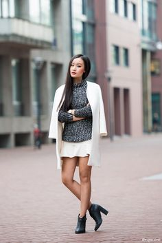 Senso boots (same here) | Zara coat - knitwear (similar) - skirt (similar) | Daniel Wellington watch (same here)