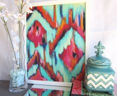 16x20 Artist Painting Print abstract Ikat artwork with turquoise. $45.00, via Etsy.