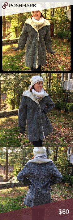VINTAGE FAUX FUR COAT GRAY AND WHITE SEE MY INSTAGRAM @gibaravintage for video.1960-70s Satin lining. Dry clean only. Size 7/8. Medium Vintage Jackets & Coats
