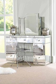 Large Mirrored furniture Dressing Console table / desk from My-Furniture in Home, Furniture & DIY, Furniture, Dressing Tables Mirrored Bedroom Furniture, Mirrored Nightstand, My Furniture, Furniture Layout, Bedroom Decor, Mirror Bedroom, Mirrored Vanity Table, Vanity Mirrors, Furniture Movers